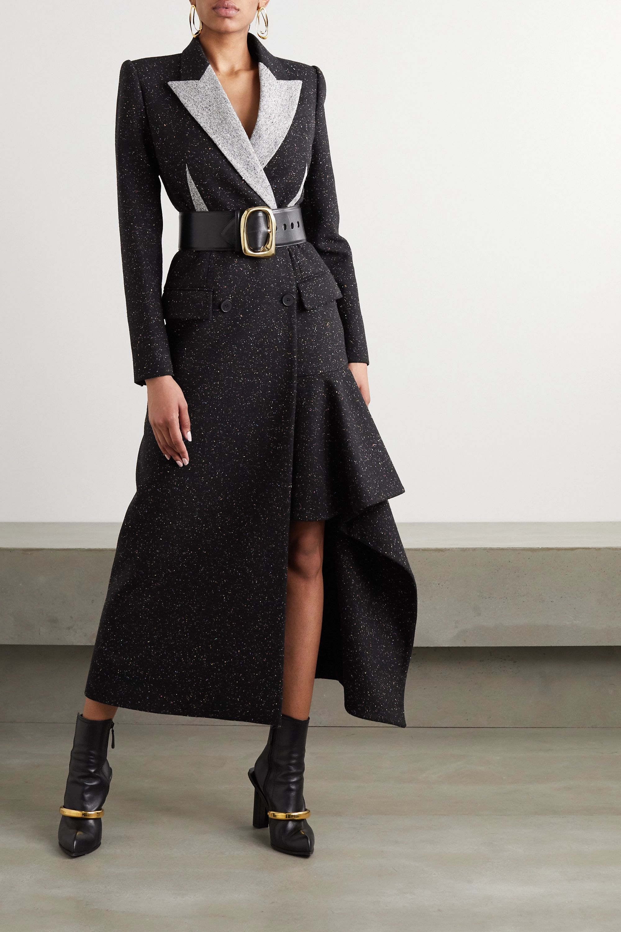 Alexander McQueen Asymmetric double-breasted Donegal wool-blend coat