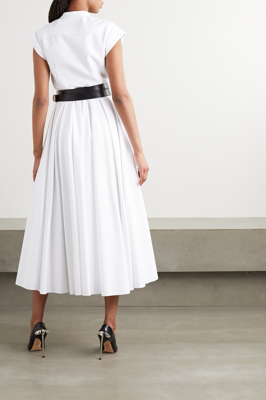 Alexander McQueen Pleated cotton-piqué midi dress