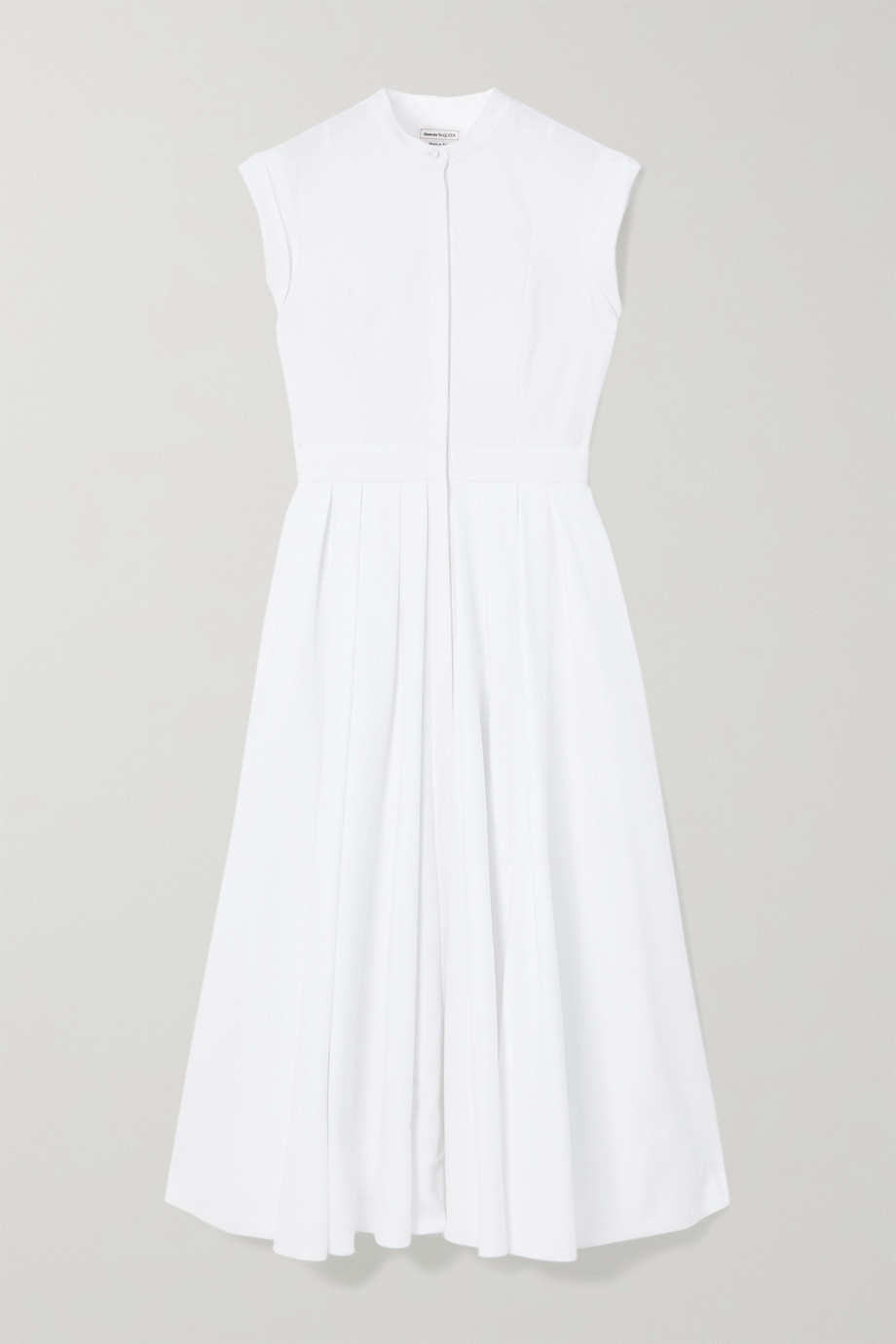 Alexander McQueen Pleated cotton-piqué midi dress