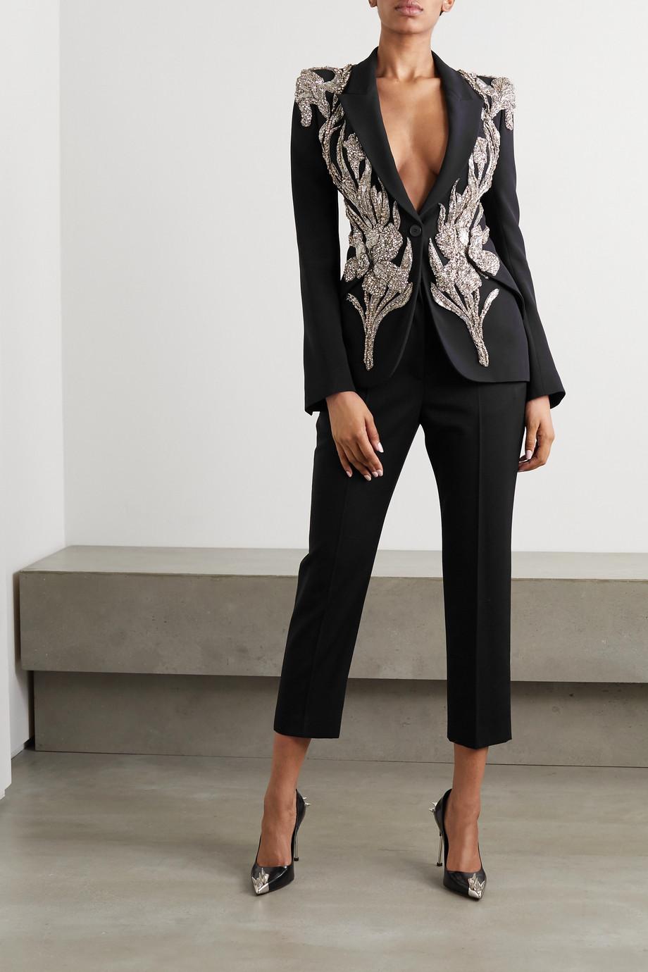 Alexander McQueen Embellished twill blazer