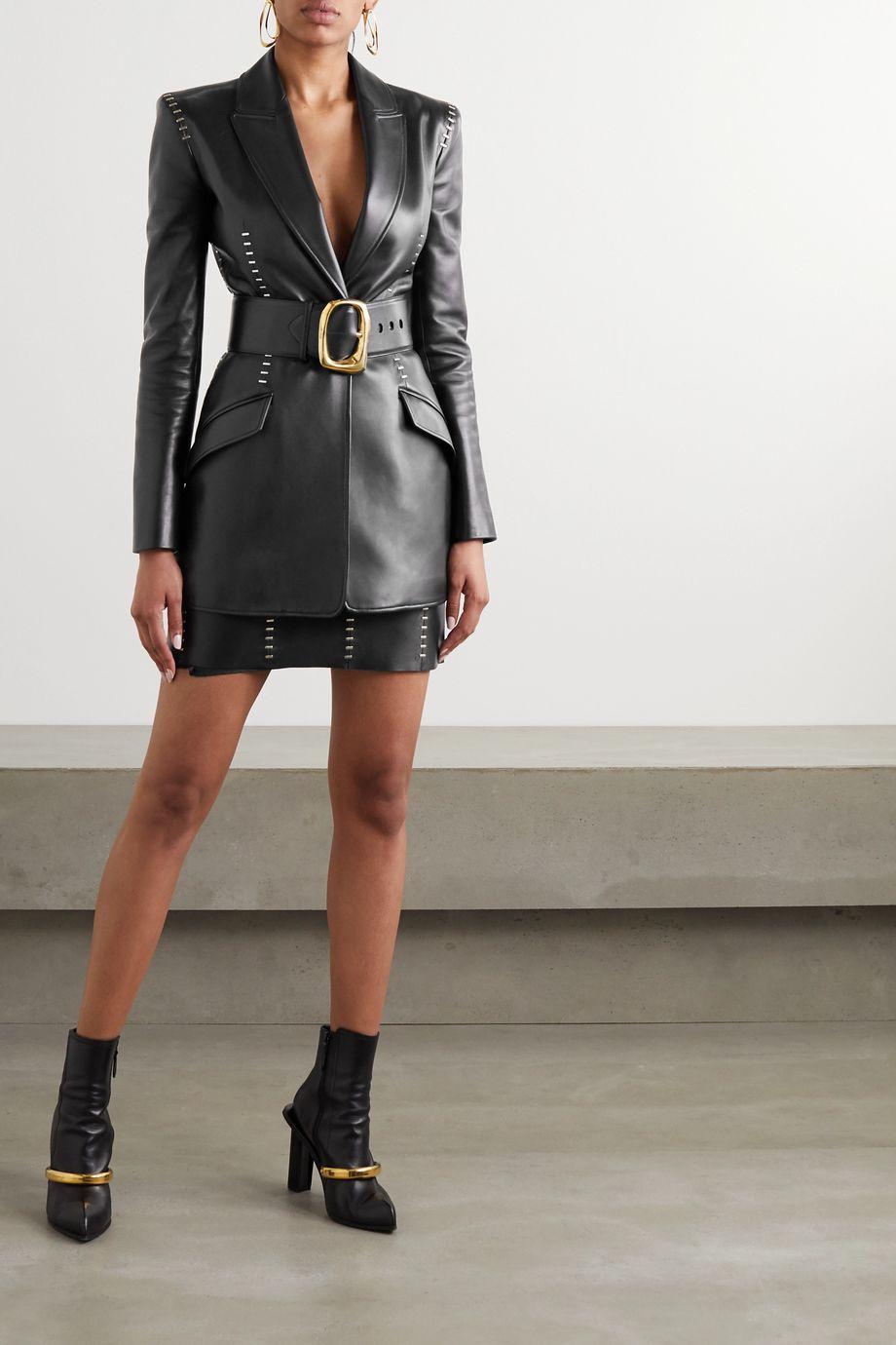 Alexander McQueen Embellished leather blazer