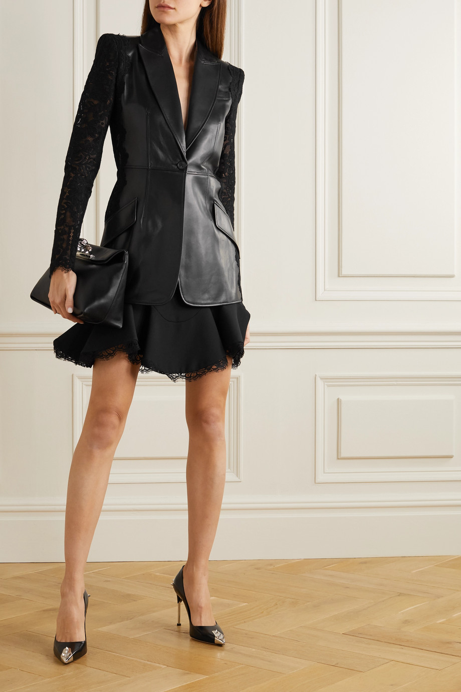 Alexander McQueen Paneled leather and cotton-blend corded lace blazer