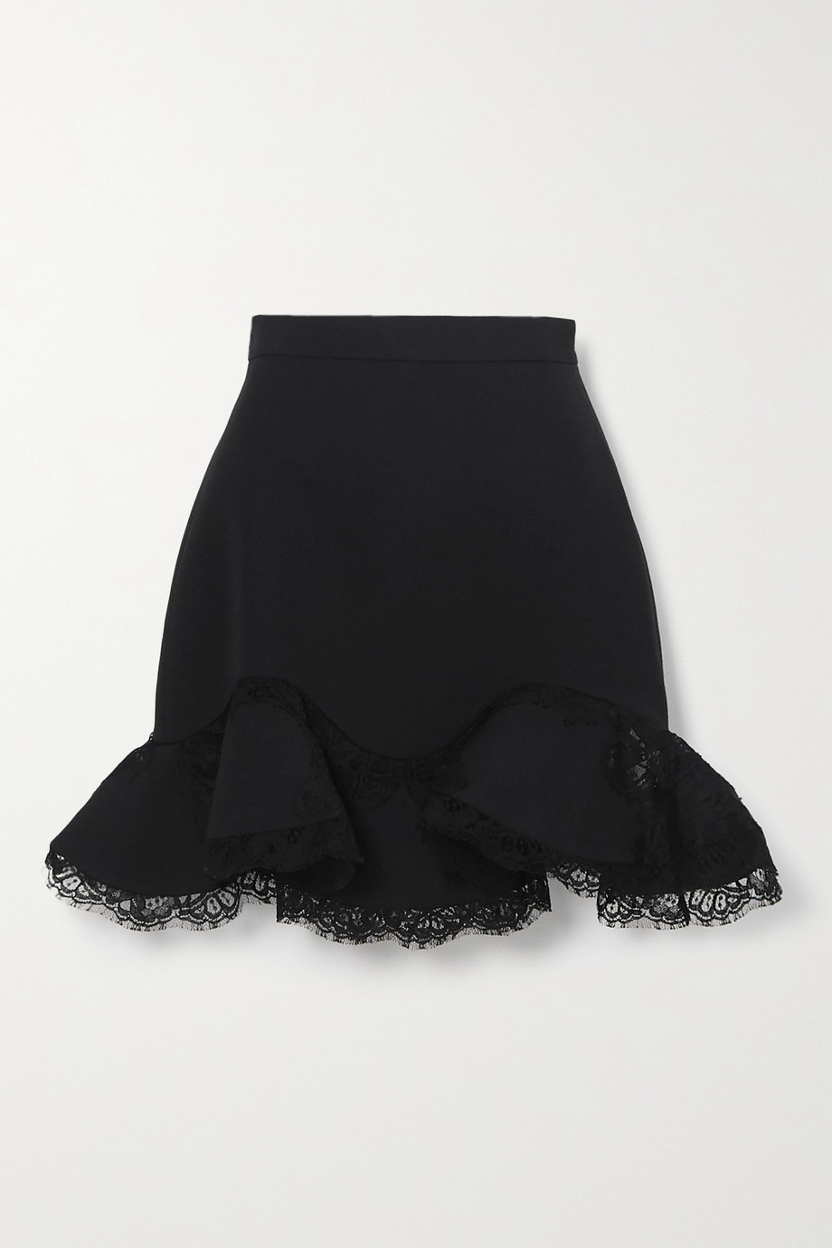 Alexander McQueen Ruffled lace-trimmed wool-blend mini skirt