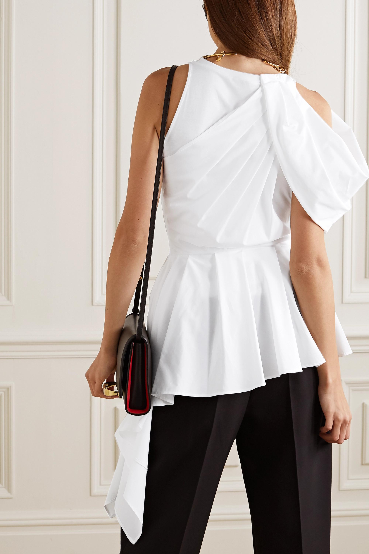 Alexander McQueen Asymmetric draped cotton-poplin and jersey top