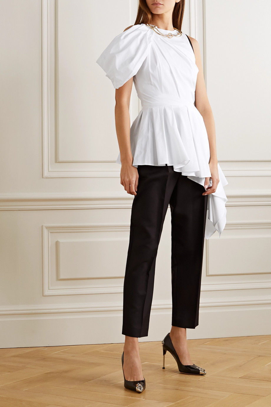 Alexander McQueen Asymmetric draped cotton-poplin and jersey top