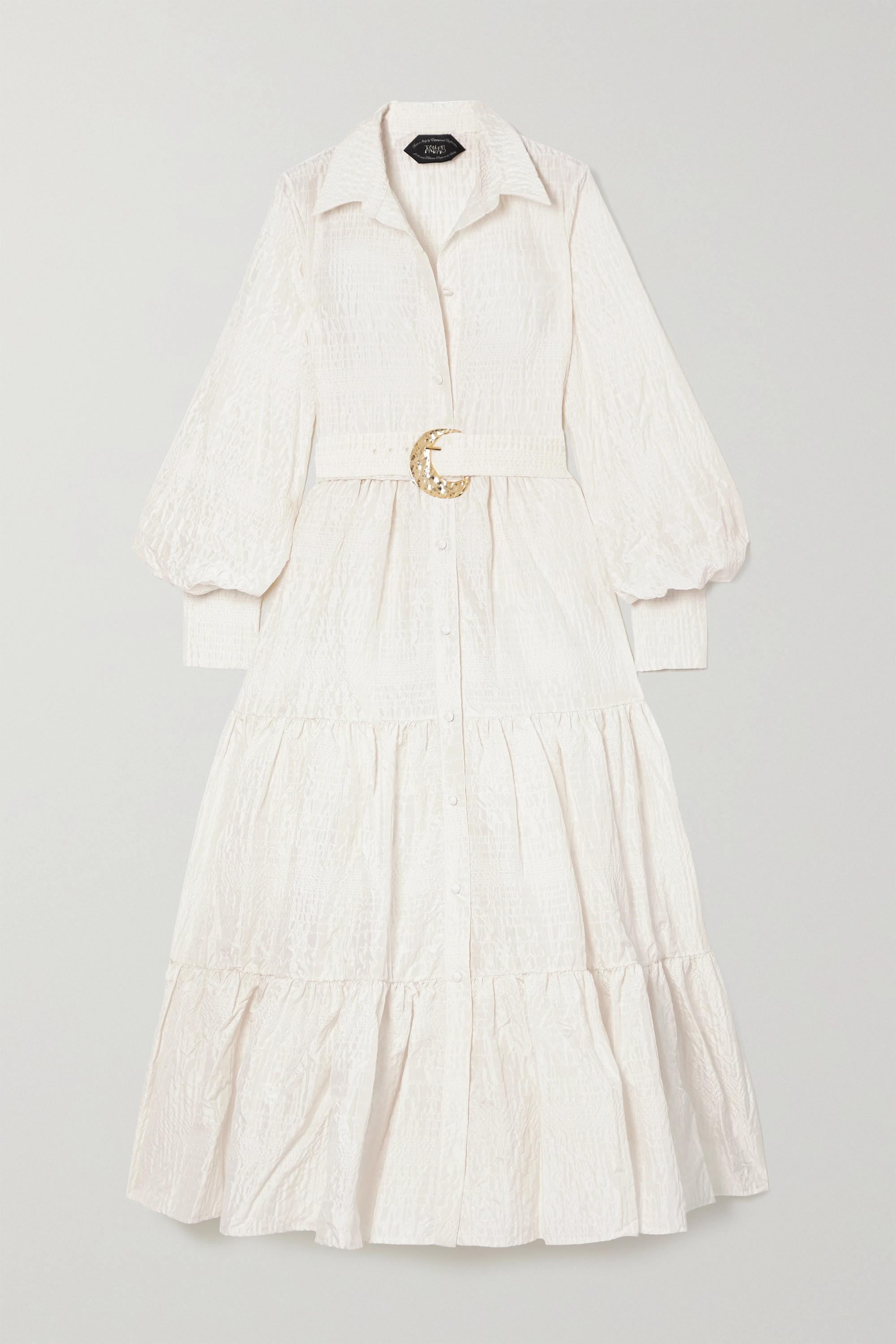 Taller Marmo Robe en cloqué de soie mélangée à ceinture Capri