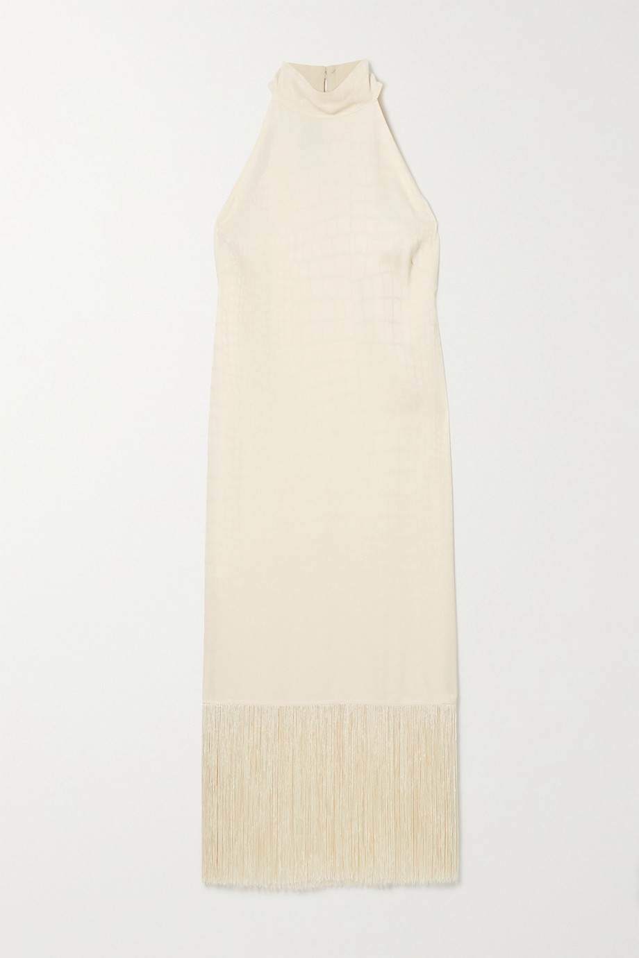 Taller Marmo Olympia fringed satin-jacquard halterneck dress
