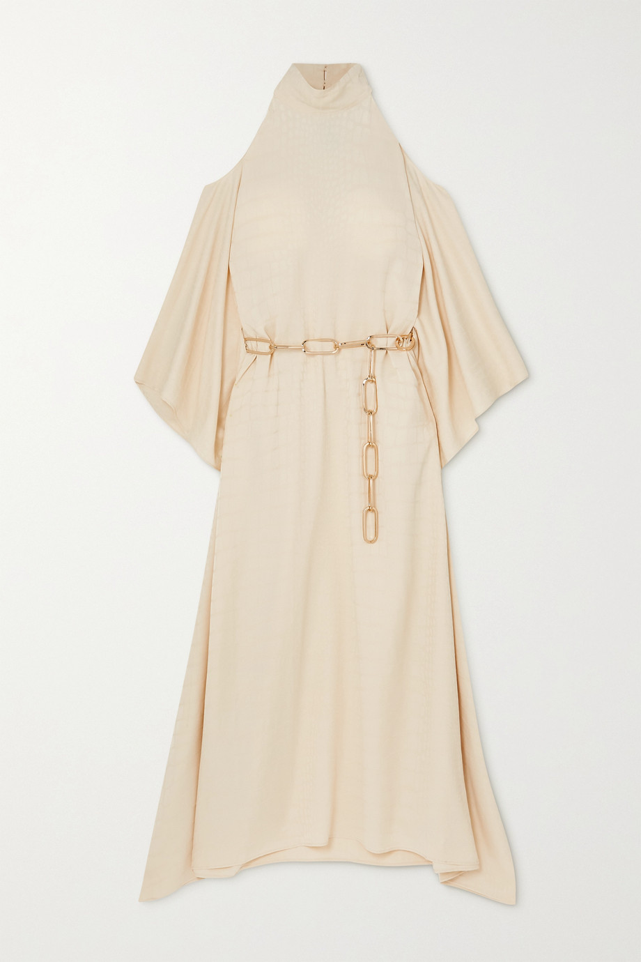 Taller Marmo La Divina cold-shoulder belted satin-jacquard maxi dress