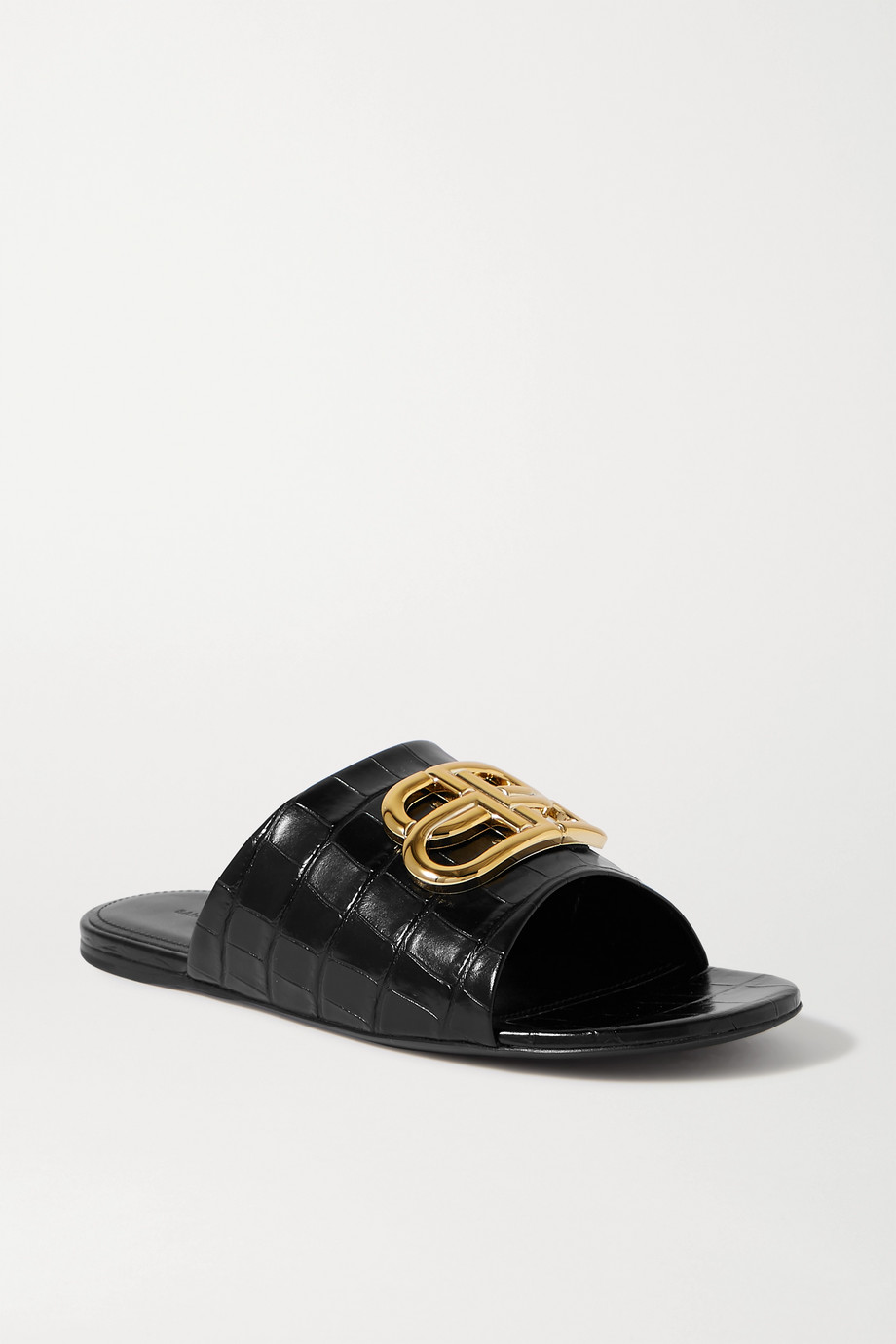 Balenciaga Oval BB logo-embellished croc-effect leather slides