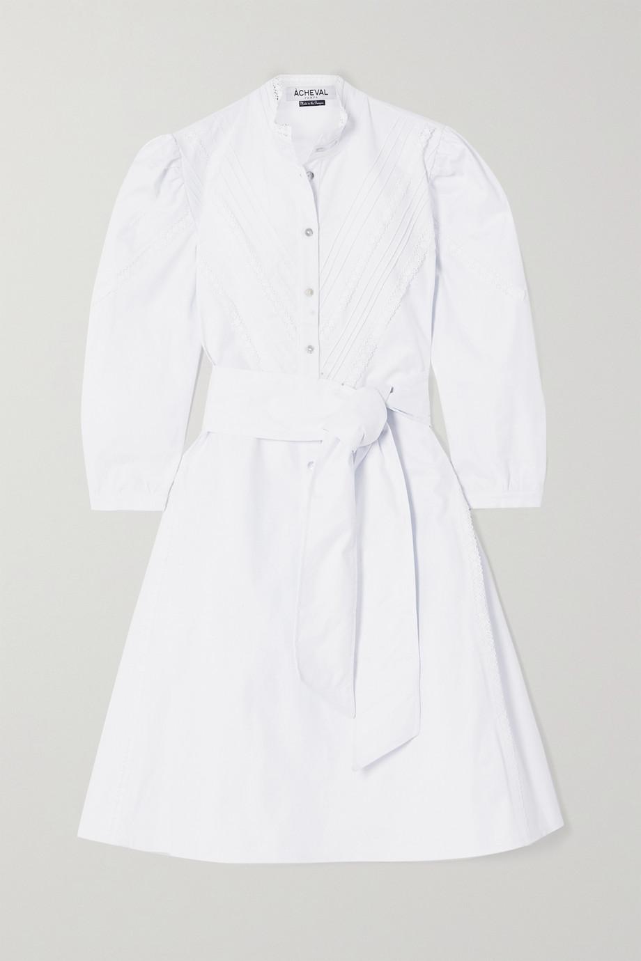 Àcheval Pampa Robe en popeline de coton mélangé à finitions en dentelle crochetée et à ceinture Yegua