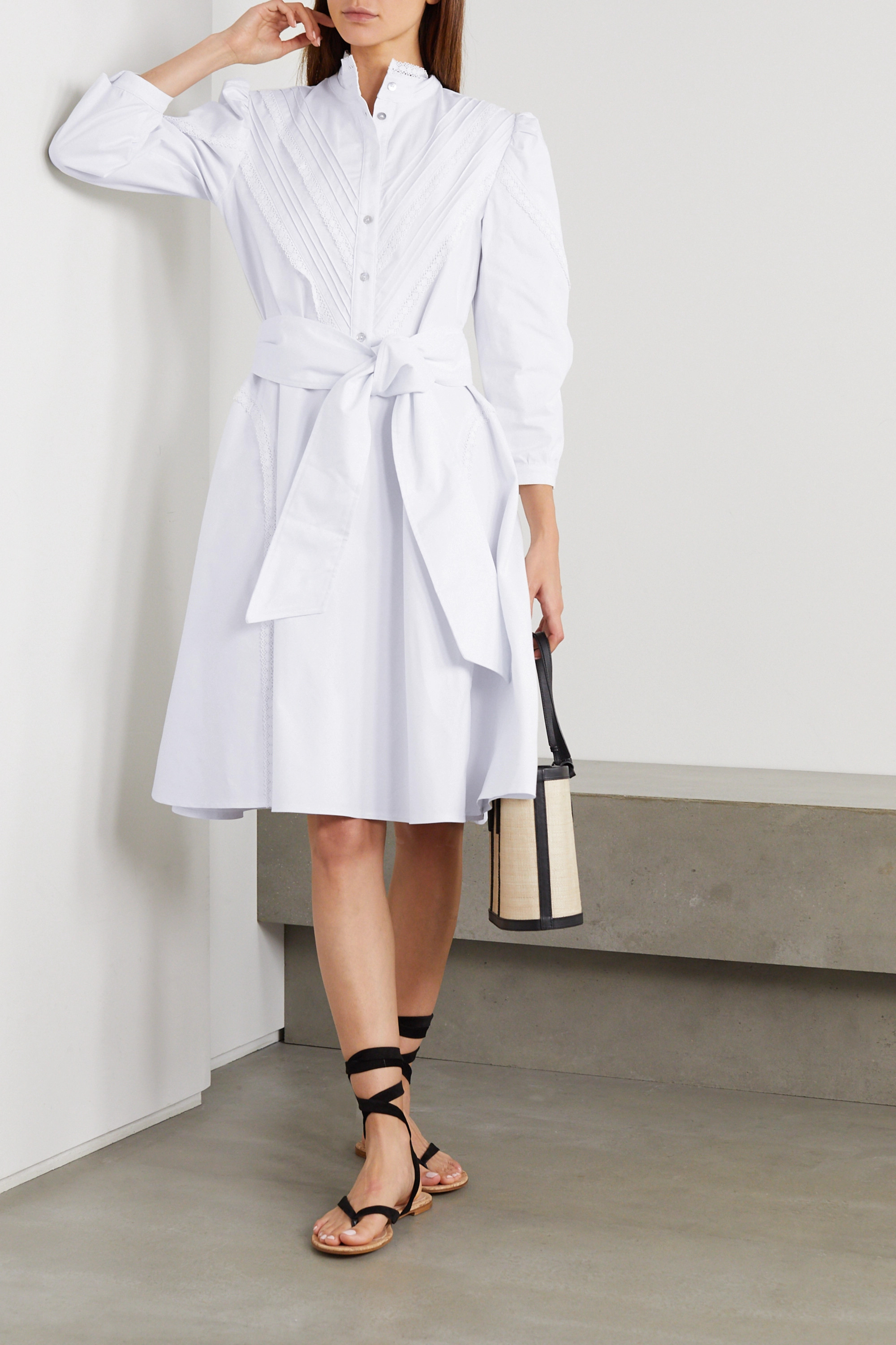Àcheval Pampa Yegua belted crocheted lace-trimmed cotton-blend poplin dress