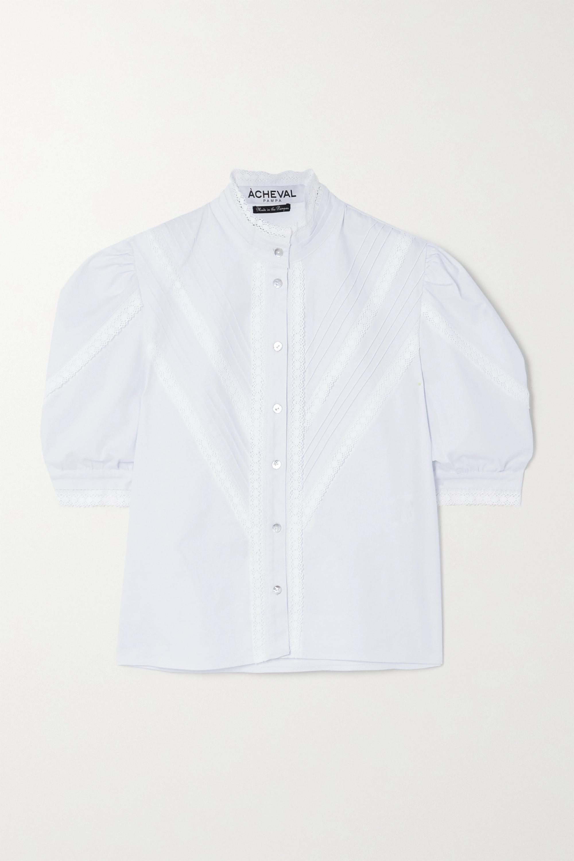 Àcheval Pampa Chemisier en popeline de coton stretch et dentelle à plis nervures Yegua