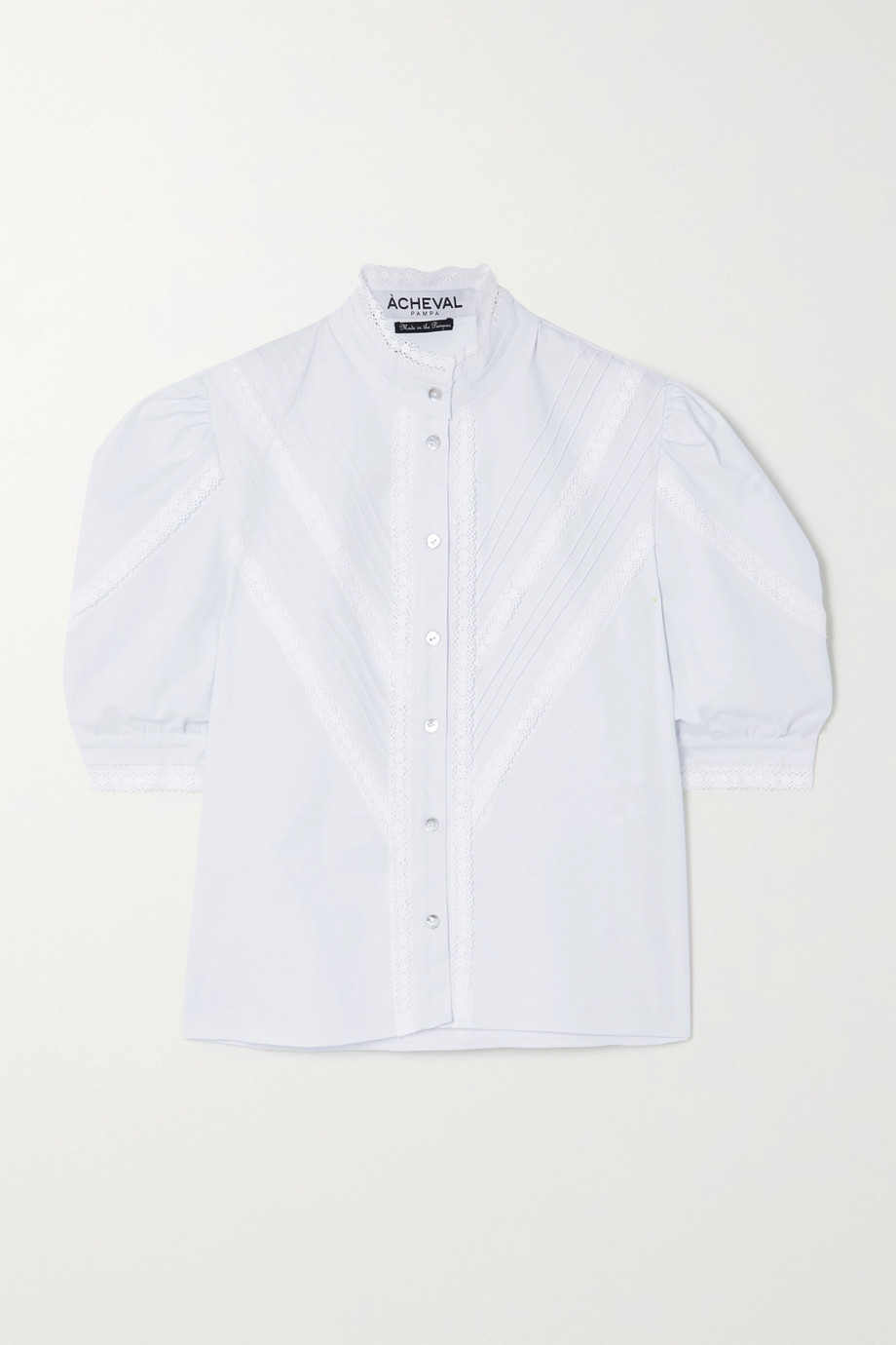 Àcheval Pampa Pleated lace-trimmed stretch-cotton poplin blouse