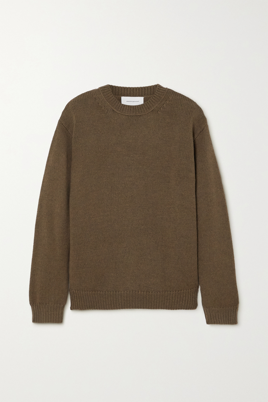 Alexandra Golovanoff Camel Cashmere Sweater In Army Green