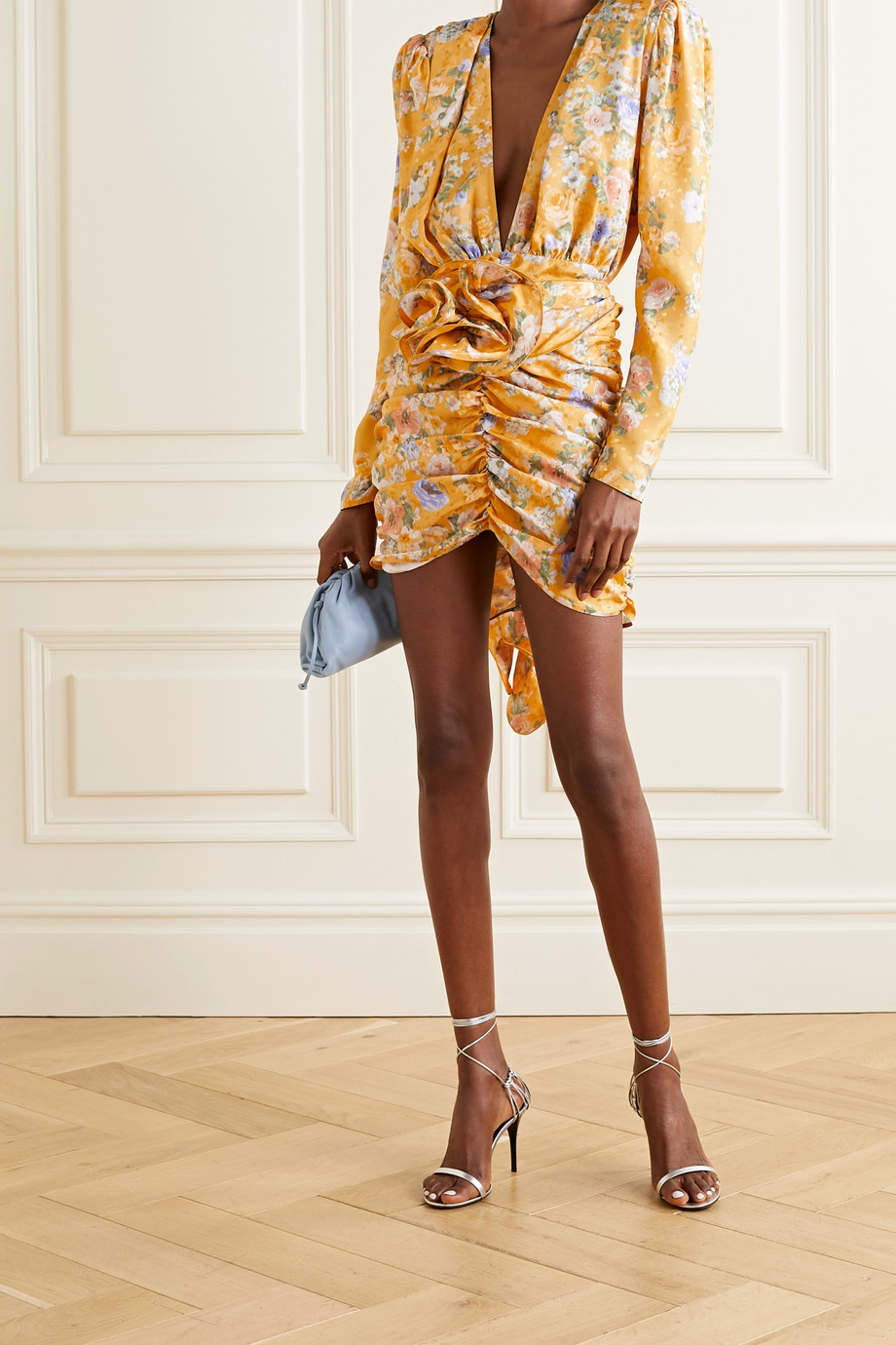 Magda Butrym Belted ruched floral-print silk-satin jacquard mini dress
