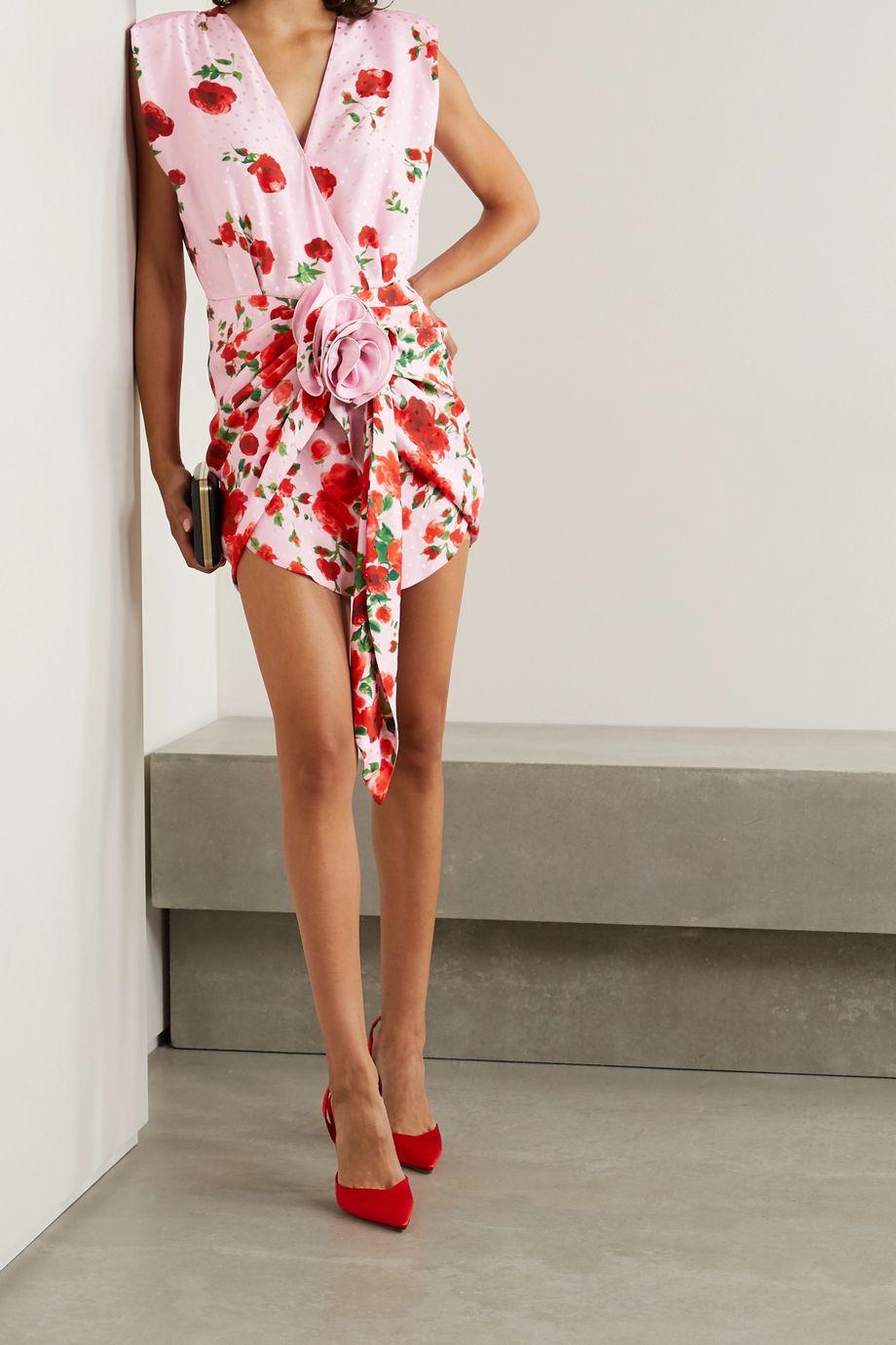 Magda Butrym Minikleid aus glänzendem Seiden-Jacquard mit Blumenprint und Raffungen