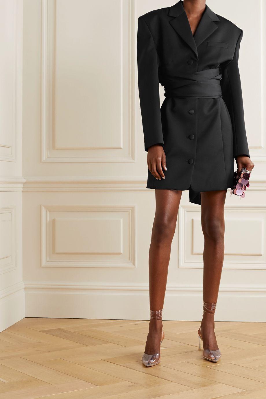 Magda Butrym Minikleid aus Wolle und Seide mit Schärpengürtel