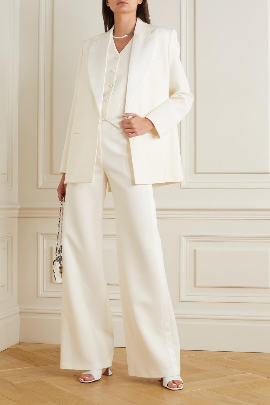 Magda Butrym Silk-trimmed wool-twill wide-leg pants