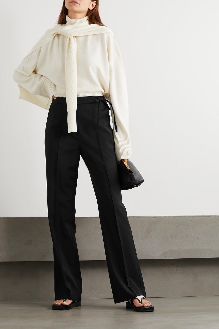 LE 17 SEPTEMBRE Tie-detailed crepe wide-leg pants