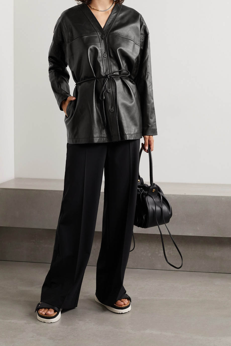 LE 17 SEPTEMBRE Belted leather jacket