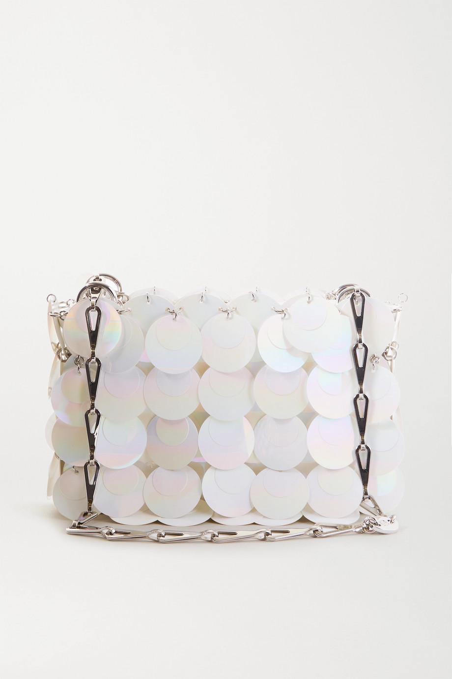 Paco Rabanne Nano Bridal Sparkle Schultertasche aus Kunstleder mit Pailletten