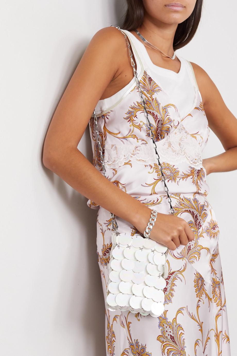 Paco Rabanne Mini Bridal Sparkle Schultertasche aus Kunstleder mit Pailletten