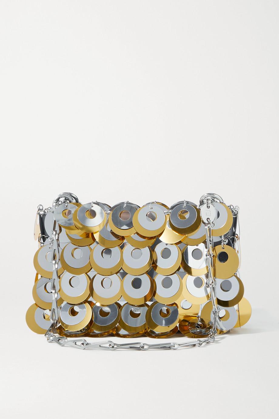 Paco Rabanne Schultertasche aus Metall-Mesh mit Pailletten