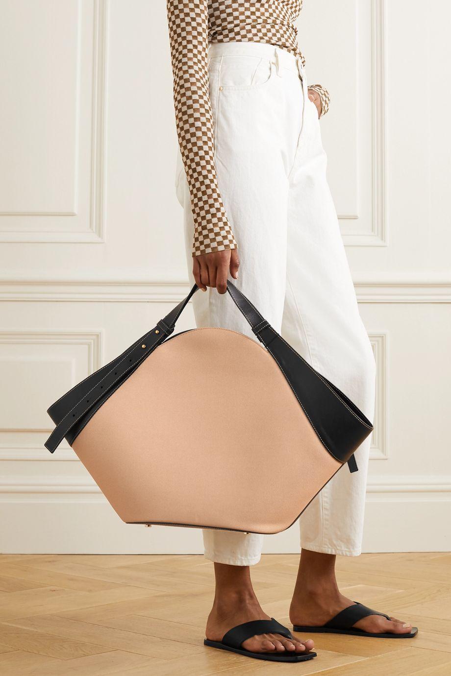 Yuzefi Basket leather-trimmed canvas shoulder bag