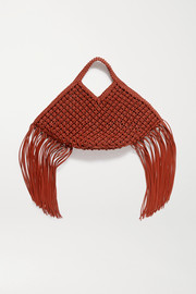 Yuzefi Basket large fringed woven leather tote