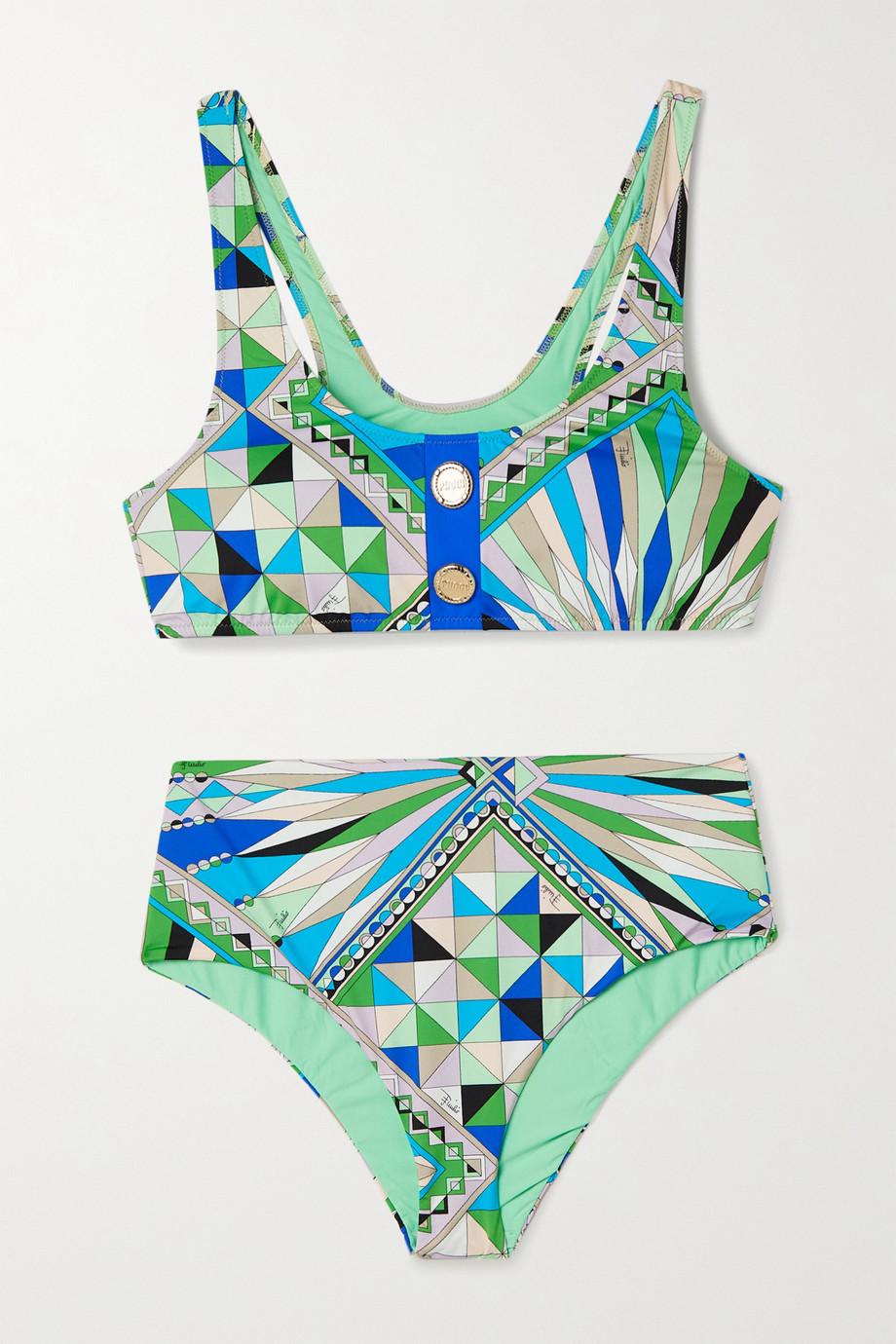 Emilio Pucci Button-embellished printed bikini