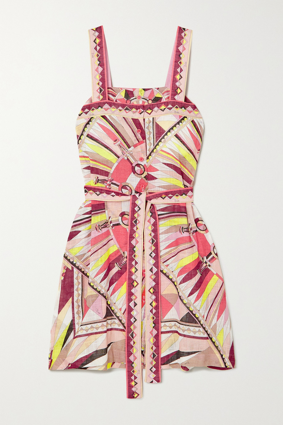 Emilio Pucci Belted printed cotton-voile mini dress
