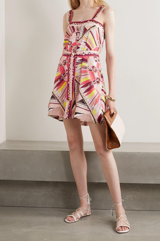 Emilio Pucci Belted printed cotton-voile mini dress