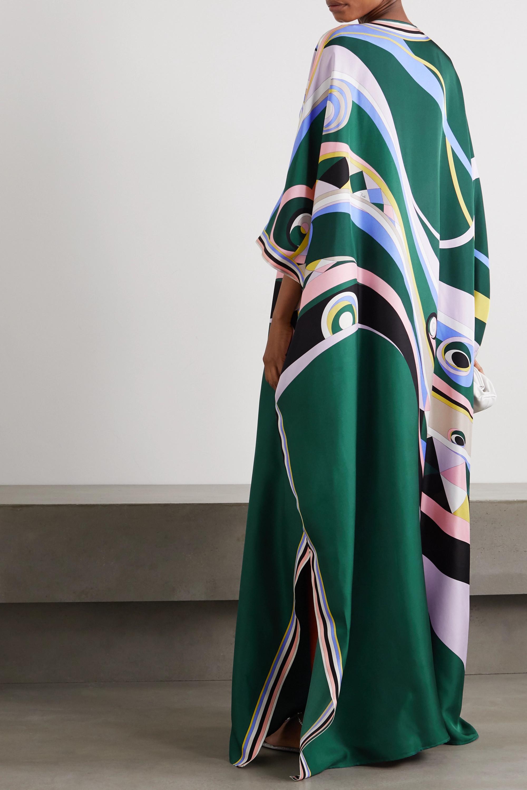 Emilio Pucci Tasseled printed silk-satin kaftan