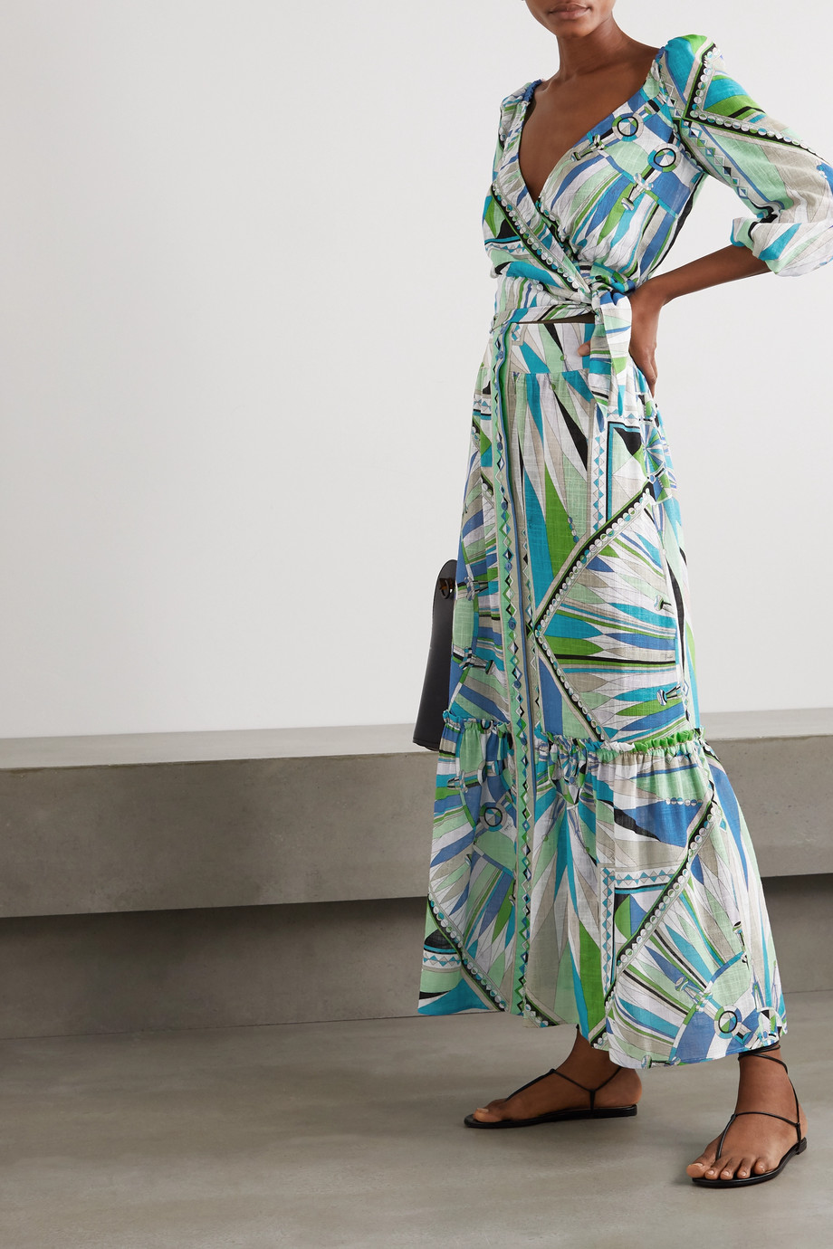 Emilio Pucci Tiered printed cotton-voile maxi skirt