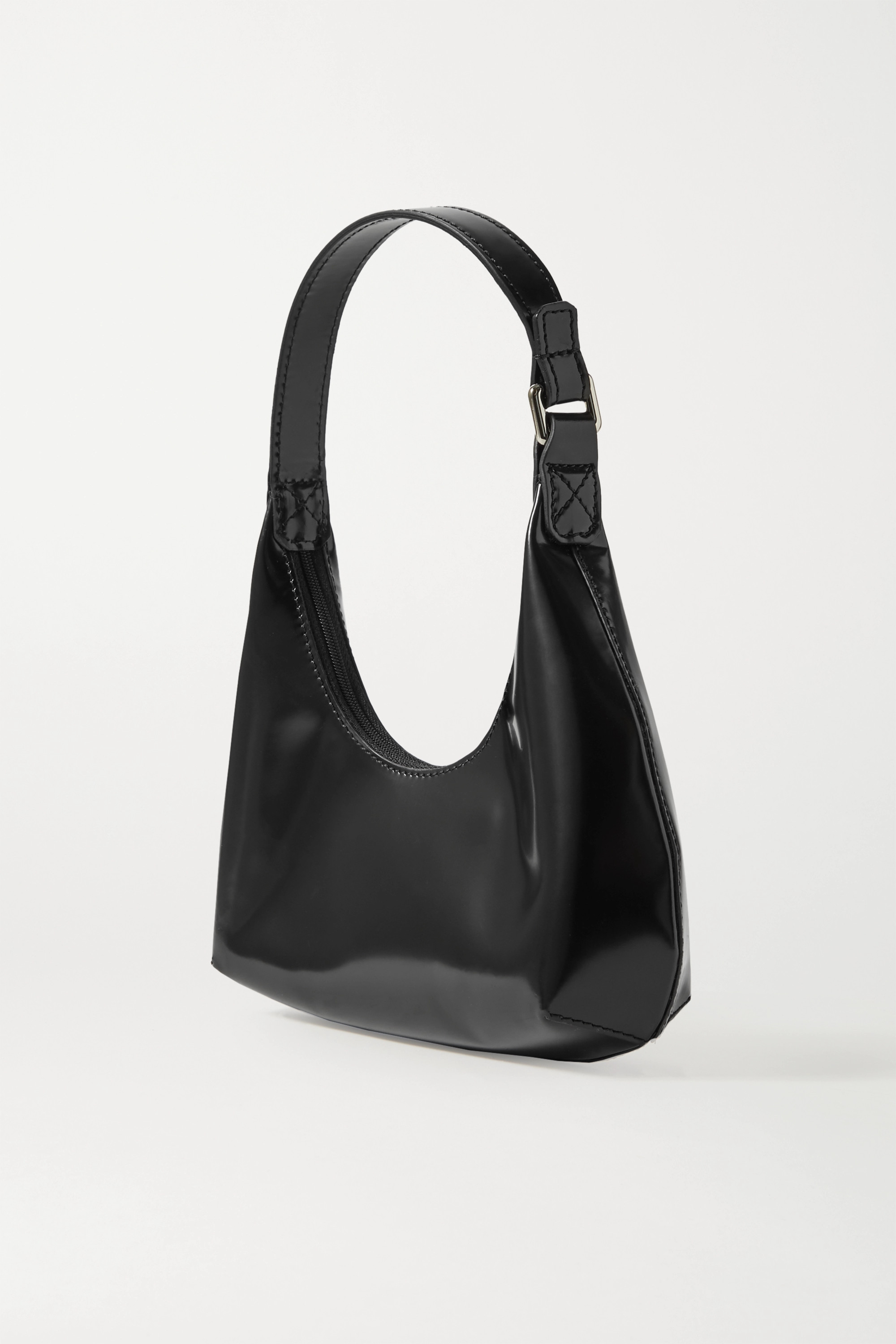BY FAR Amber Baby glossed-leather tote