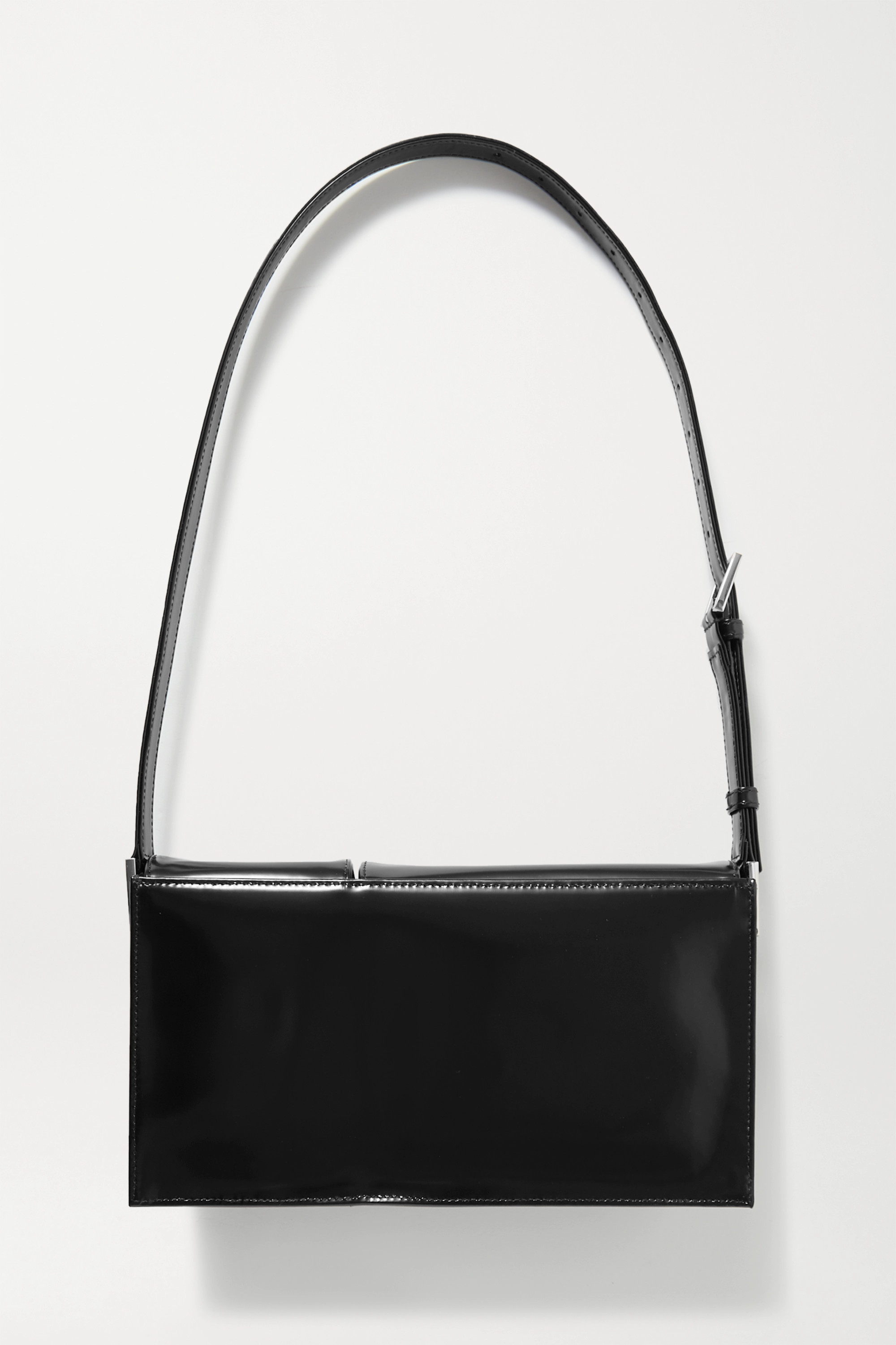 BY FAR Billy glossed-leather shoulder bag