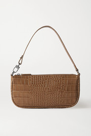 BY FAR Rachel croc-effect leather shoulder bag