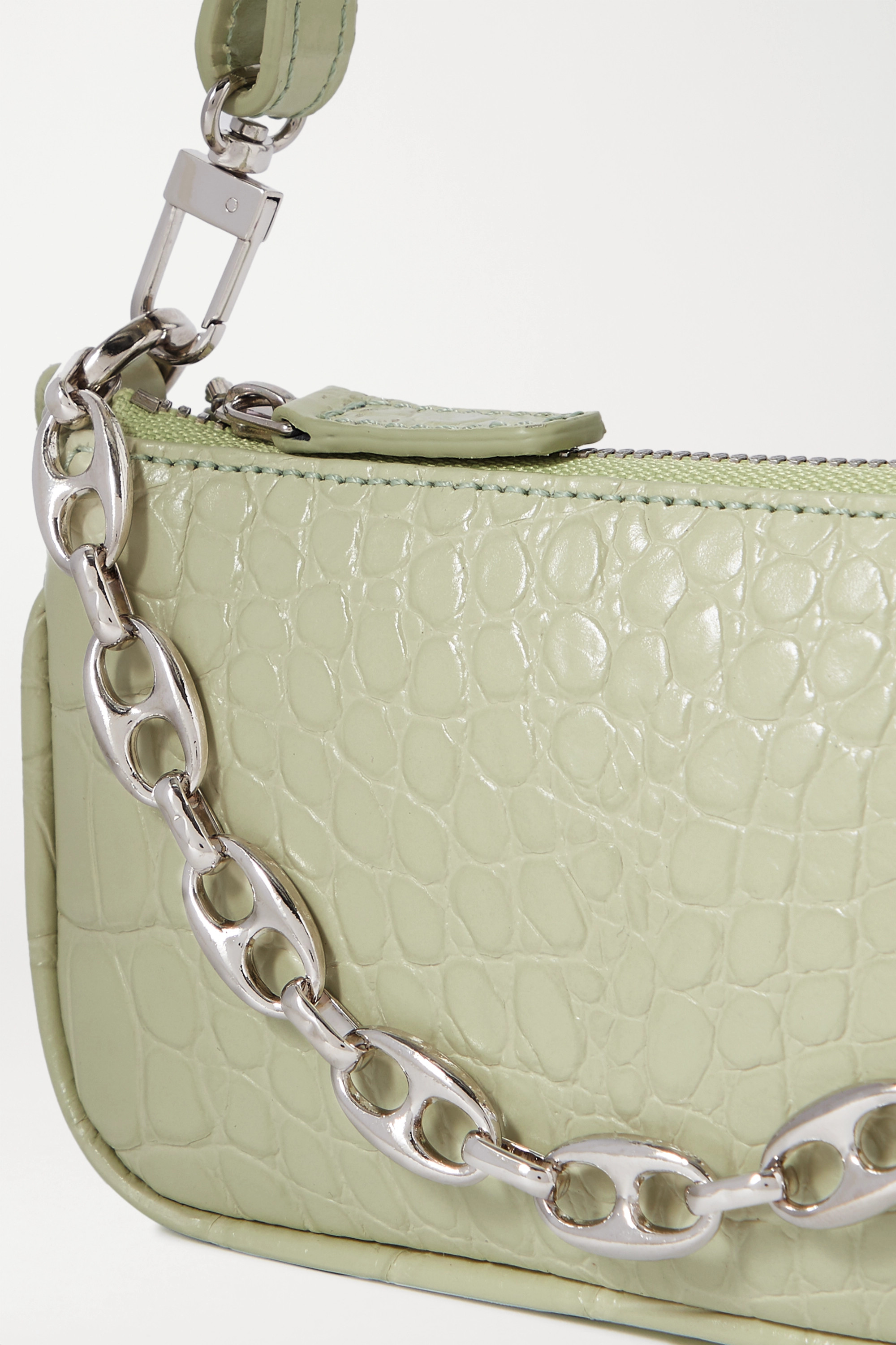 BY FAR Rachel mini chain-embellished croc-effect leather tote