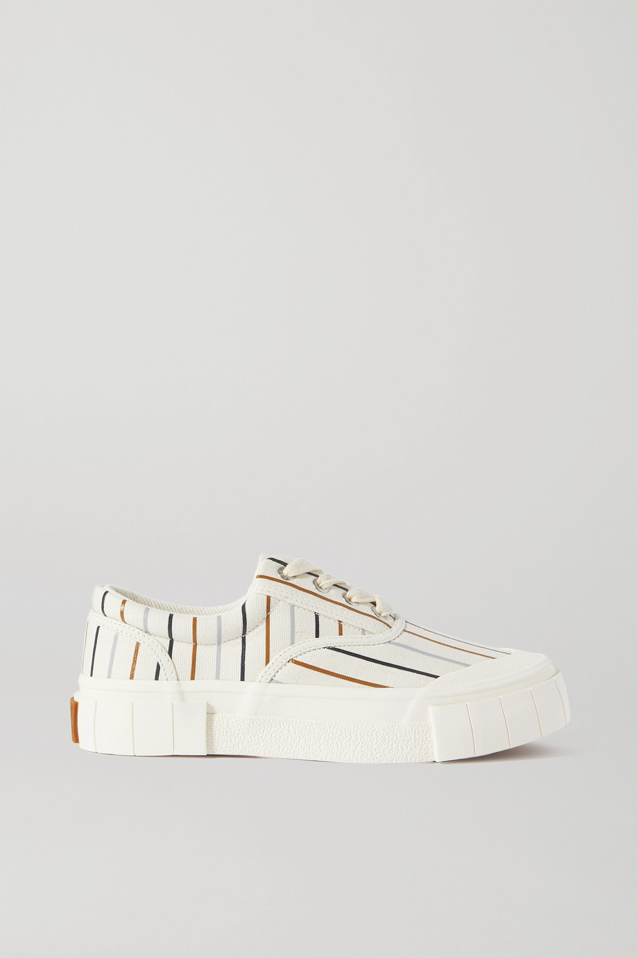 GOOD NEWS Opal striped organic cotton-canvas sneakers