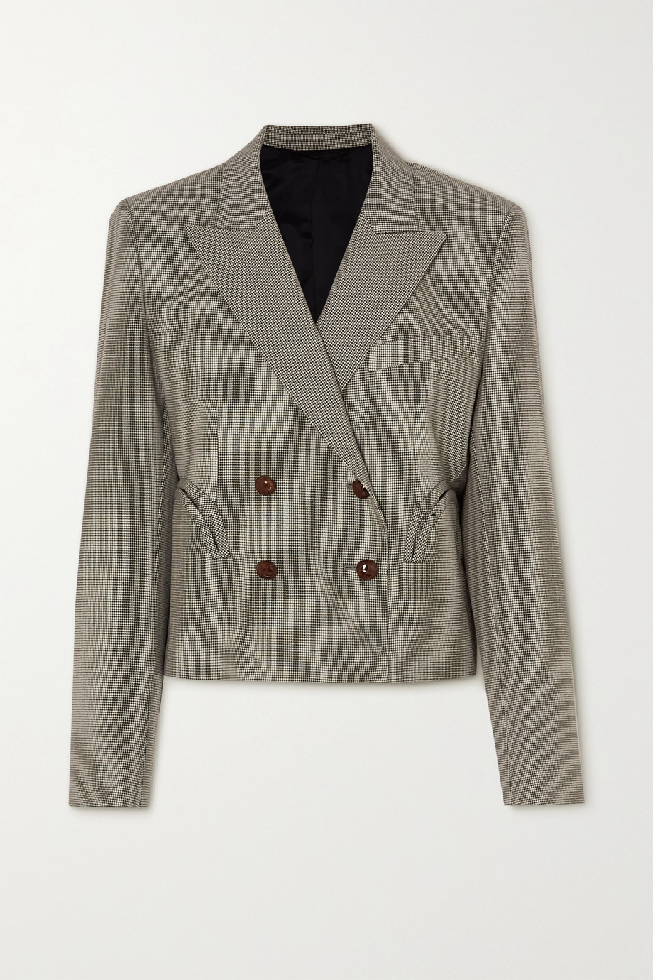 Blazé Milano Kentra Spencer cropped double-breasted houndstooth wool blazer