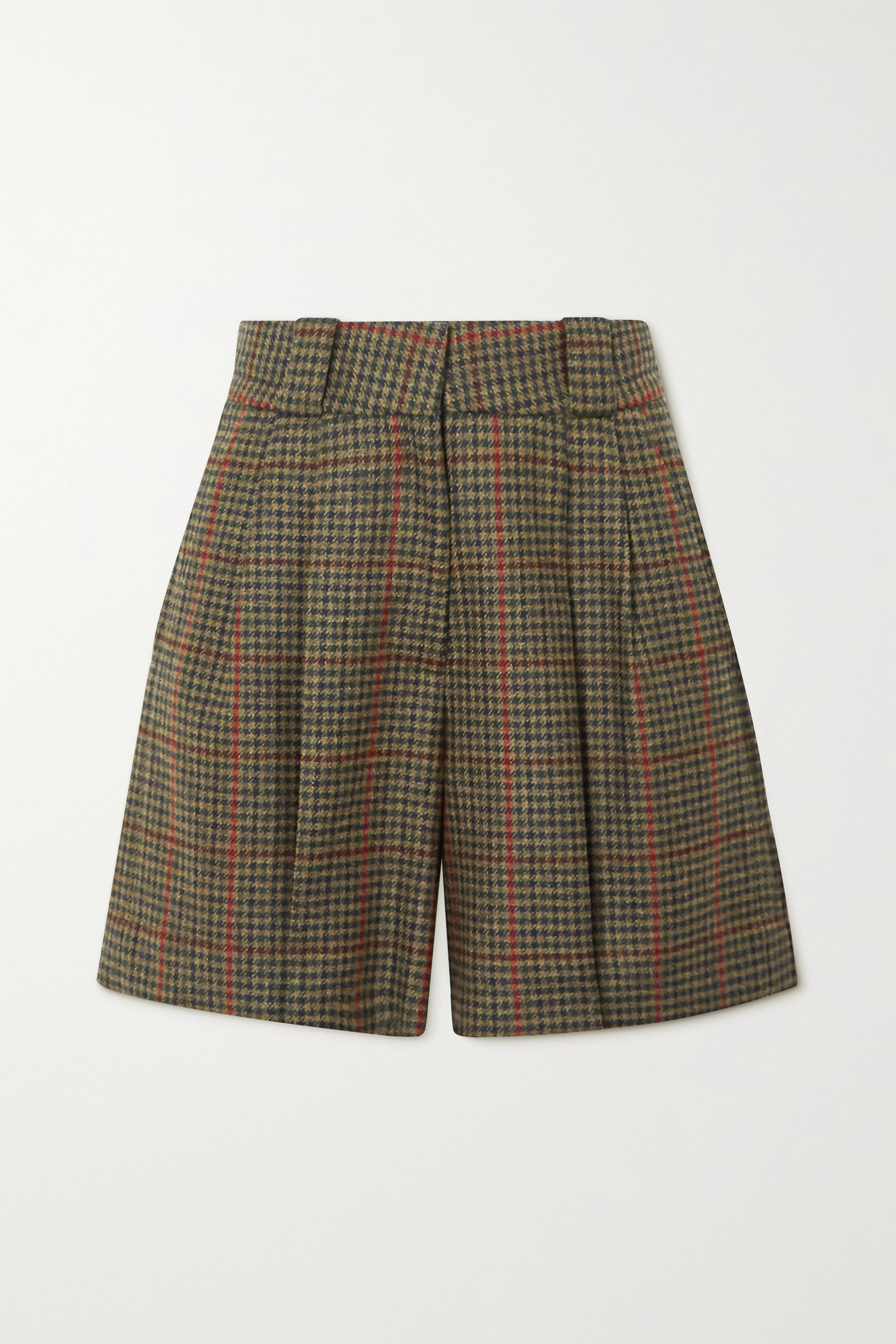 Army Green Drum Beat Fell Checked Wool Shorts | Blazé Milano