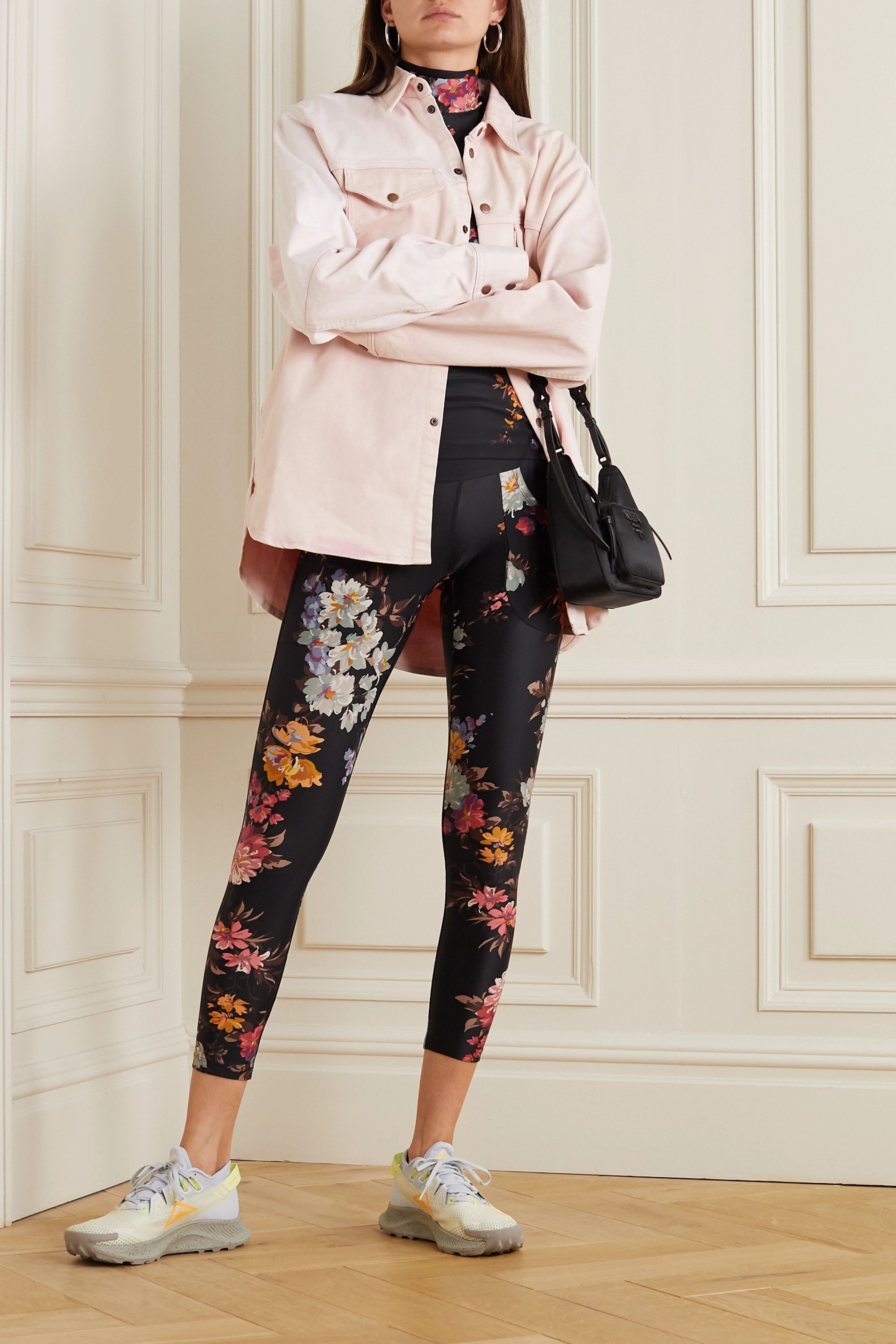 Twin Fantasy Paneled floral-print stretch leggings