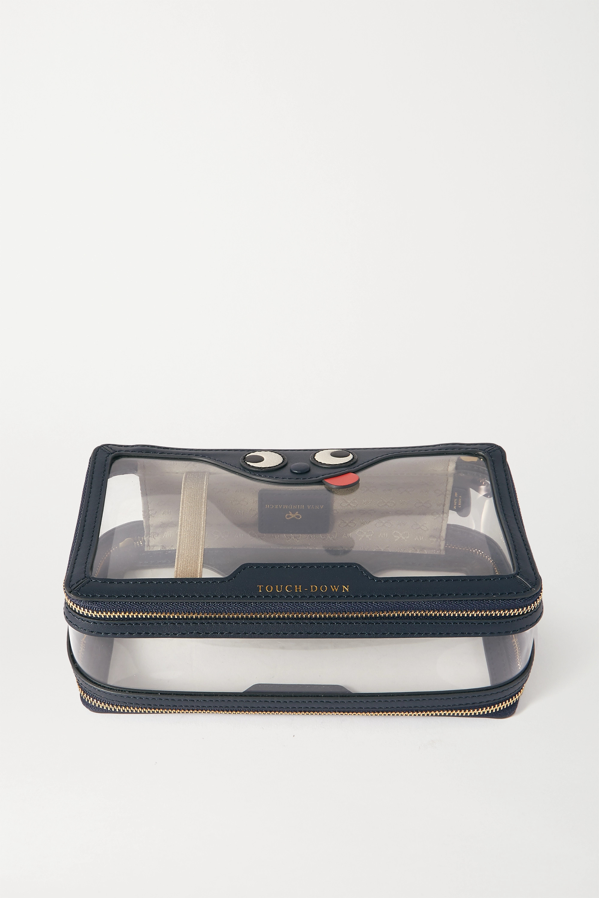 Anya Hindmarch In-Flight Zany leather-trimmed PVC cosmetics case