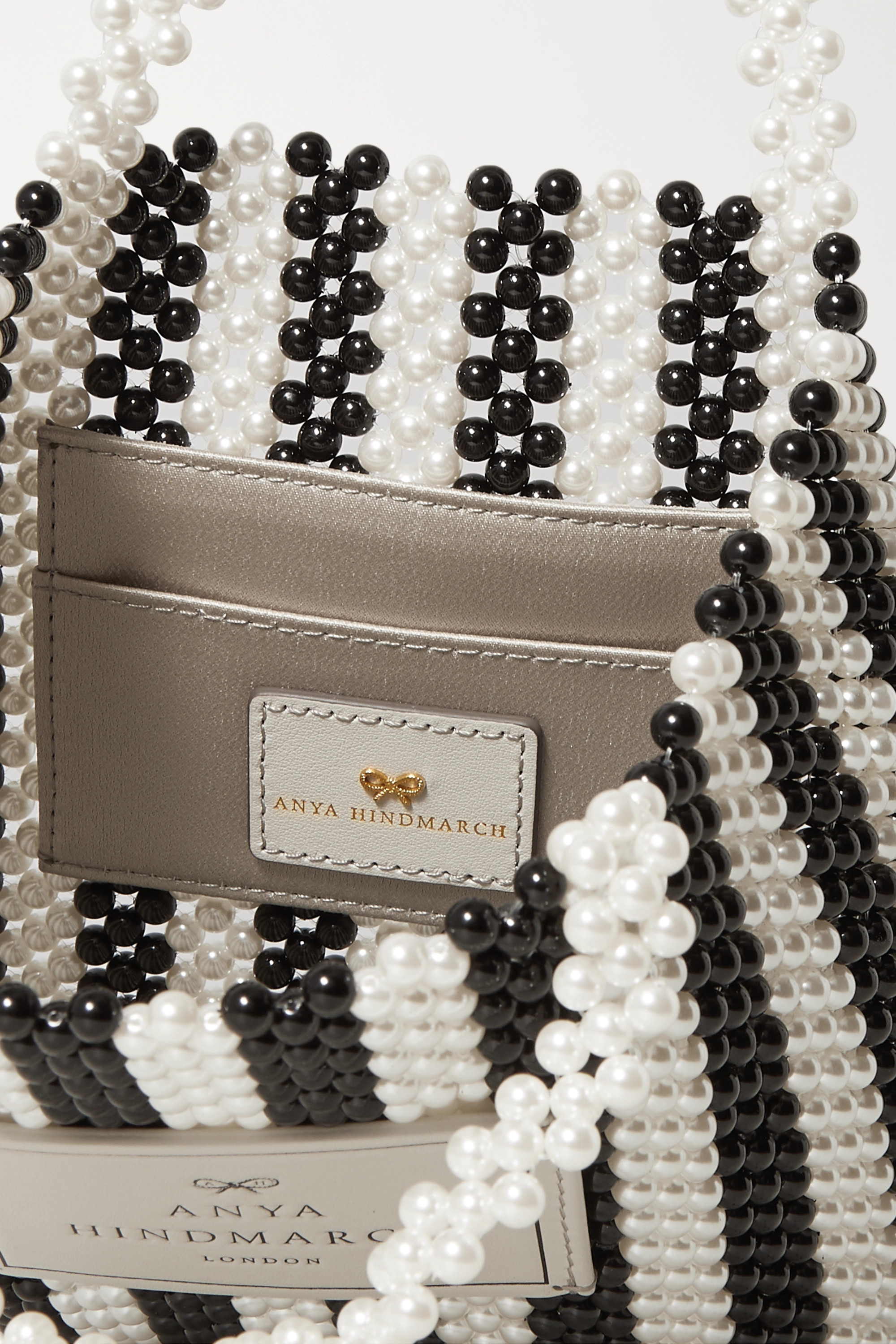 Anya Hindmarch Leather-trimmed beaded tote
