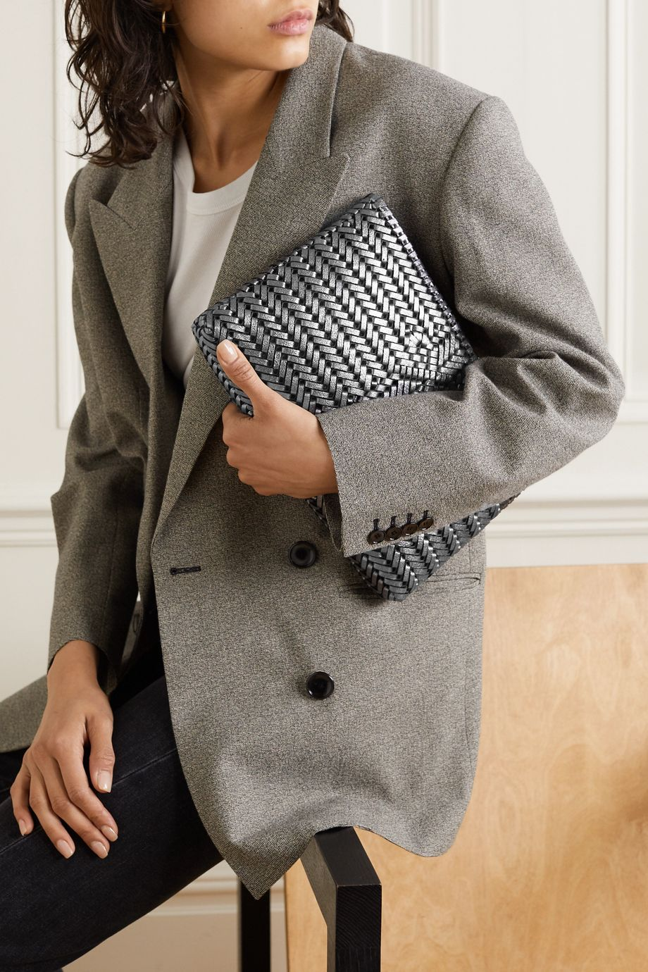 Anya Hindmarch The Neeson large woven metallic leather clutch