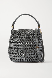 Anya Hindmarch Neeson Drawstring micro woven metallic crinkled-leather bucket bag