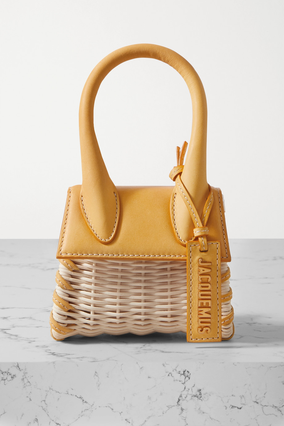 Jacquemus Le Chiquito leather-trimmed straw tote