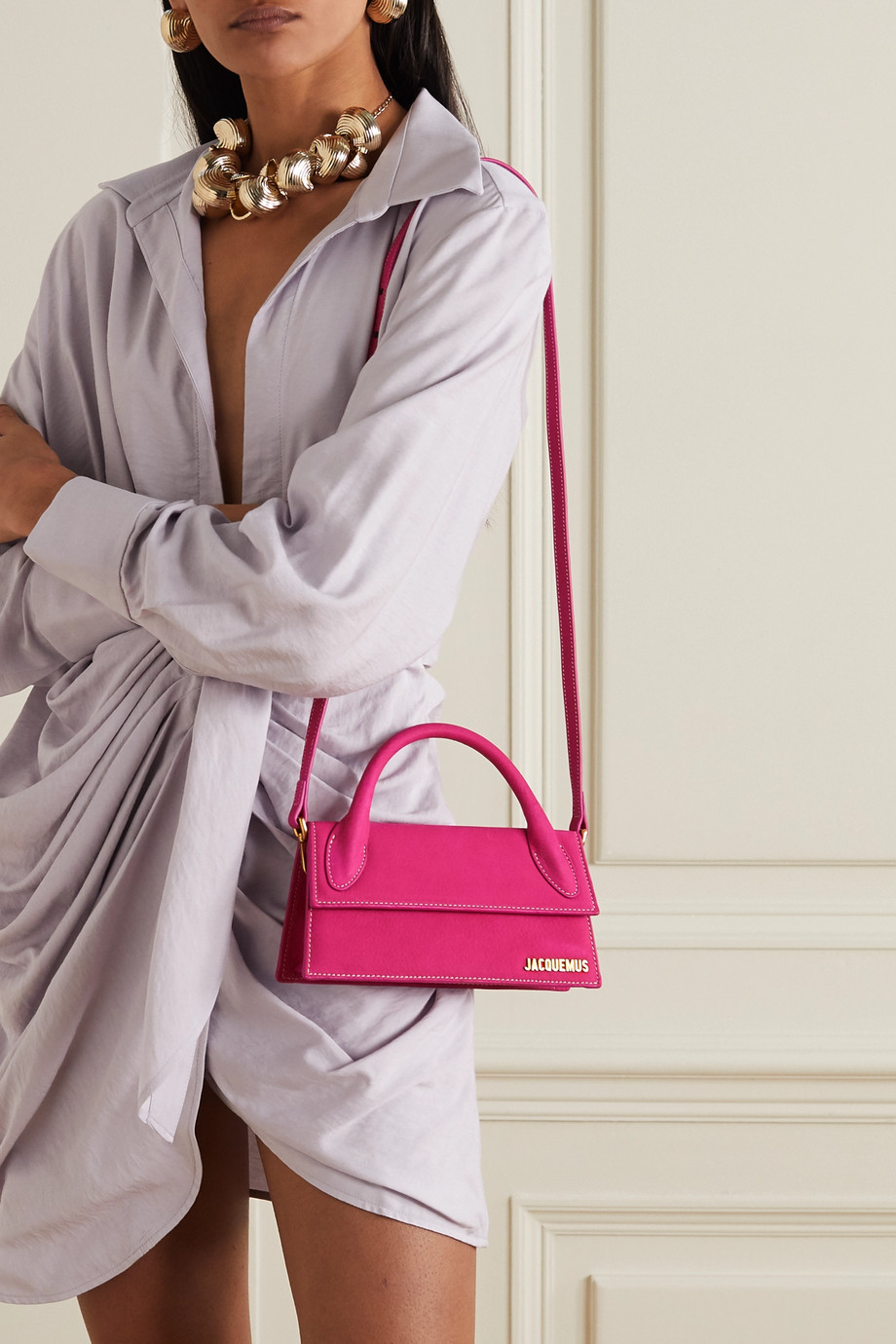 Jacquemus Le Chiquito Long nubuck tote