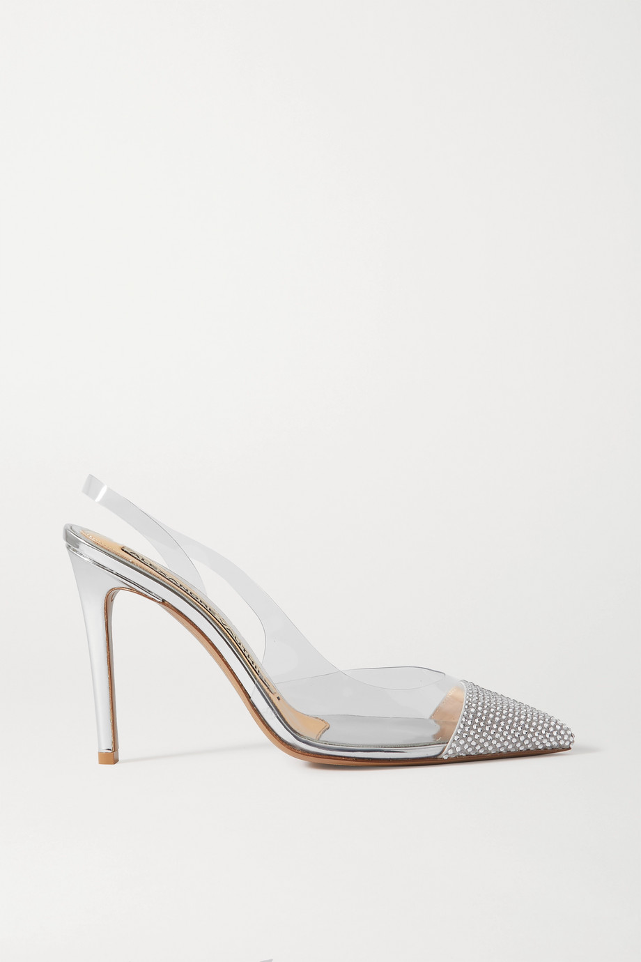 Alexandre Vauthier Amber crystal-embellished PVC and metallic leather pumps