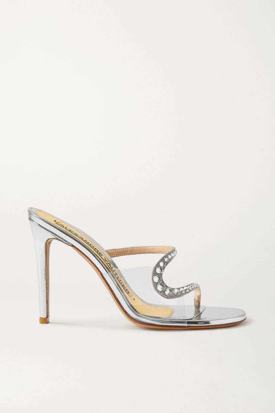 Alexandre Vauthier Ava crystal-embellished metallic leather and PVC sandals